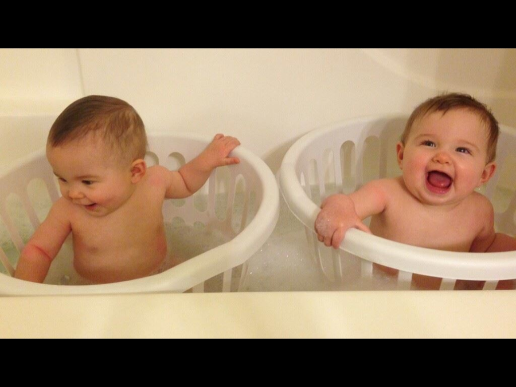Bath Time, Twins, & Laundry Baskets